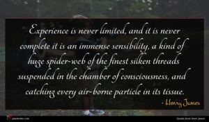 Henry James quote : Experience is never limited ...