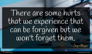 Joyce Meyer quote : There are some hurts ...