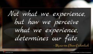Marie von Ebner-Eschenbach quote : Not what we experience ...