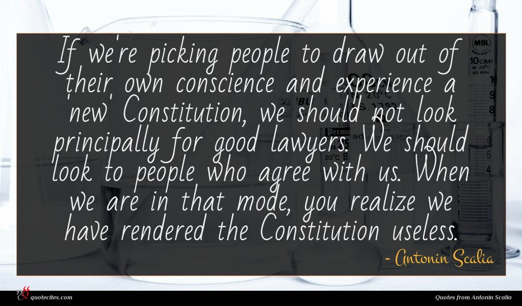 If we're picking people to draw out of their own conscience and experience a 'new' Constitution, we should not look principally for good lawyers. We should look to people who agree with us. When we are in that mode, you realize we have rendered the Constitution useless.