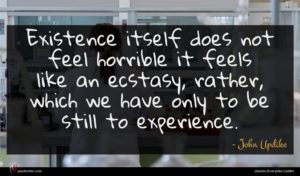 John Updike quote : Existence itself does not ...
