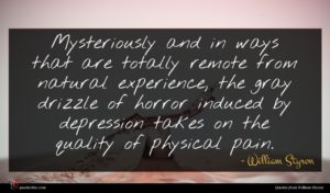 William Styron quote : Mysteriously and in ways ...