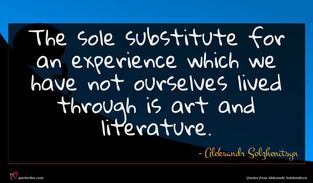 The sole substitute for an experience which we have not ourselves lived through is art and literature.