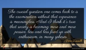 Peter Hammill quote : The crucial question one ...