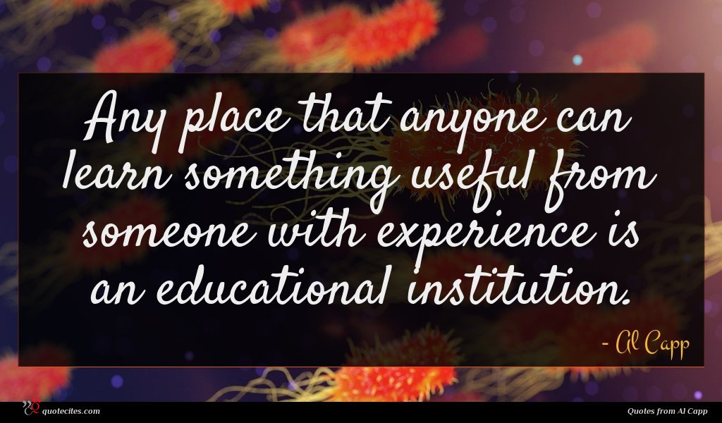 Any place that anyone can learn something useful from someone with experience is an educational institution.