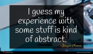 Joaquin Phoenix quote : I guess my experience ...
