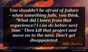 Niklas Zennstrom quote : You shouldn't be afraid ...