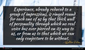 Walter Pater quote : Experience already reduced to ...