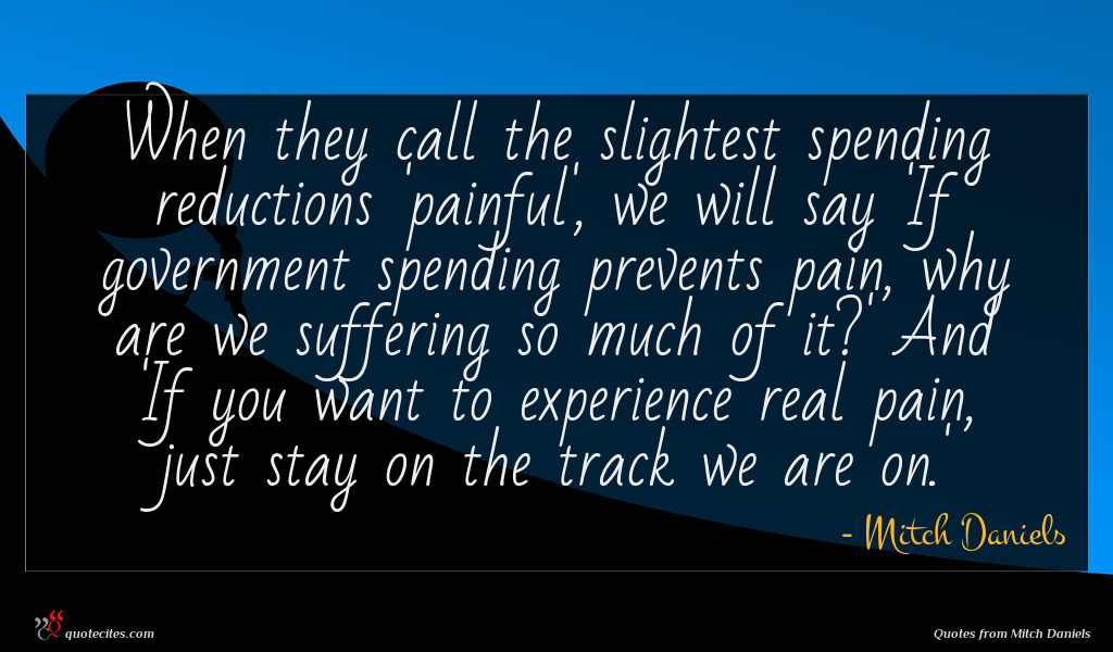When they call the slightest spending reductions 'painful', we will say 'If government spending prevents pain, why are we suffering so much of it?' And 'If you want to experience real pain, just stay on the track we are on.'