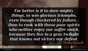 Theodore Roosevelt quote : Far better is it ...