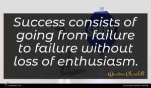 Winston Churchill quote : Success consists of going ...
