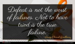George Edward Woodberry quote : Defeat is not the ...