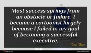 Scott Adams quote : Most success springs from ...