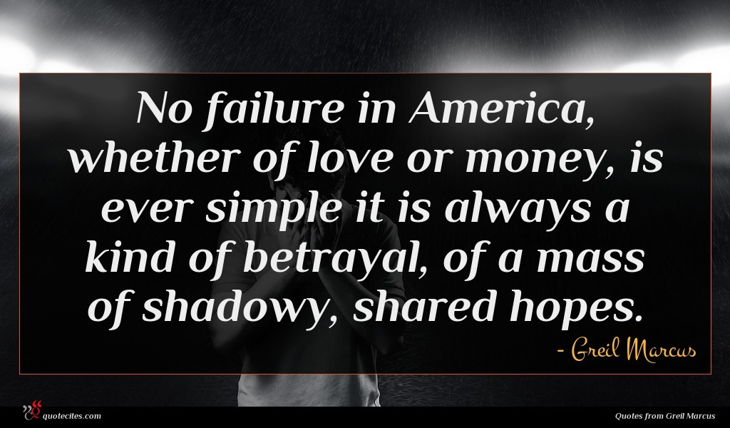 No failure in America, whether of love or money, is ever simple it is always a kind of betrayal, of a mass of shadowy, shared hopes.