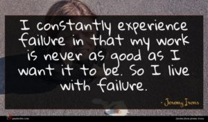 Jeremy Irons quote : I constantly experience failure ...