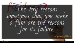 Sydney Pollack quote : The very reasons sometimes ...