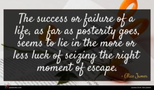 Alice James quote : The success or failure ...