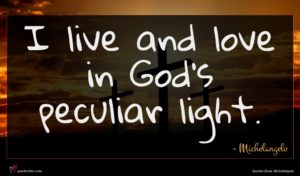 Michelangelo quote : I live and love ...
