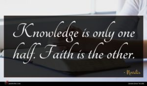 Novalis quote : Knowledge is only one ...