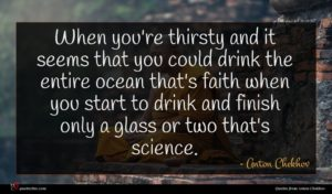Anton Chekhov quote : When you're thirsty and ...