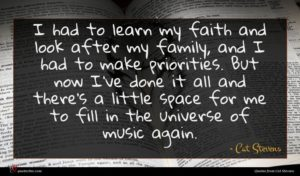 Cat Stevens quote : I had to learn ...
