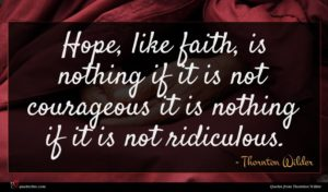 Thornton Wilder quote : Hope like faith is ...