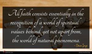 Dean Inge quote : All faith consists essentially ...
