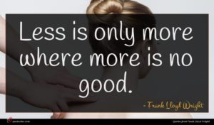 Frank Lloyd Wright quote : Less is only more ...