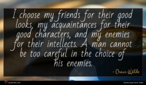 Oscar Wilde quote : I choose my friends ...