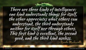 Niccolo Machiavelli quote : There are three kinds ...