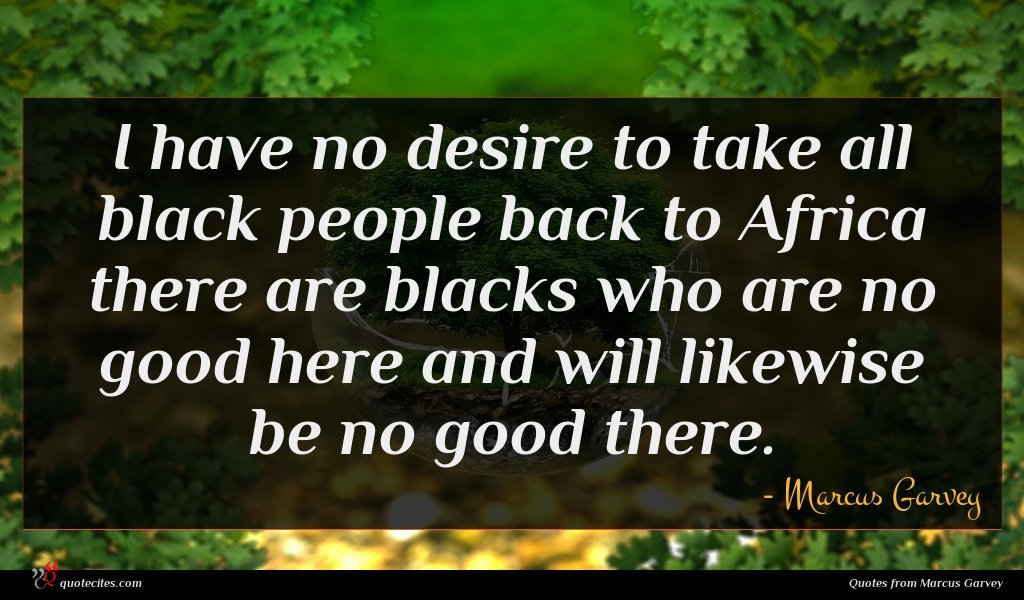 I have no desire to take all black people back to Africa there are blacks who are no good here and will likewise be no good there.