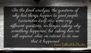 Pierre Teilhard de Chardin quote : In the final analysis ...