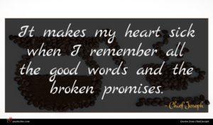 Chief Joseph quote : It makes my heart ...