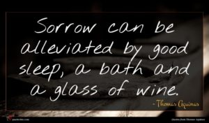 Thomas Aquinas quote : Sorrow can be alleviated ...