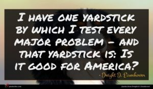 Dwight D. Eisenhower quote : I have one yardstick ...