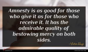 Victor Hugo quote : Amnesty is as good ...