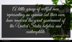 Woodrow Wilson quote : A little group of ...