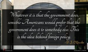 P. J. O'Rourke quote : Whatever it is that ...