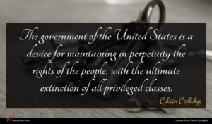 Calvin Coolidge quote : The government of the ...
