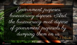 P. J. O'Rourke quote : Government proposes bureaucracy disposes ...