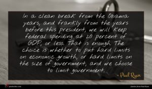 Paul Ryan quote : In a clean break ...