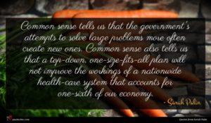 Sarah Palin quote : Common sense tells us ...