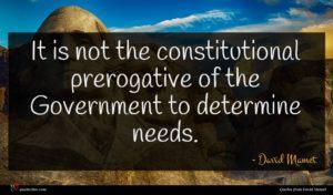 David Mamet quote : It is not the ...