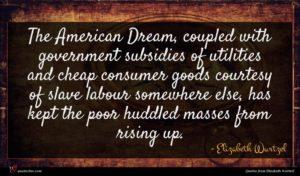 Elizabeth Wurtzel quote : The American Dream coupled ...