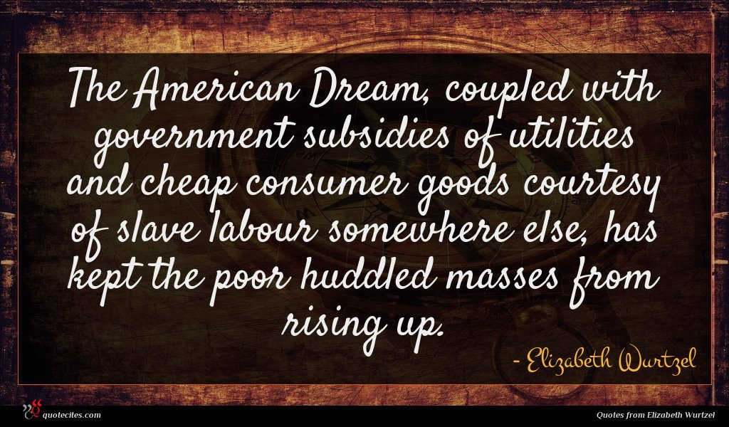 The American Dream, coupled with government subsidies of utilities and cheap consumer goods courtesy of slave labour somewhere else, has kept the poor huddled masses from rising up.