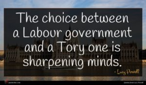 Lucy Powell quote : The choice between a ...