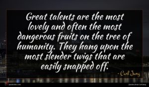 Carl Jung quote : Great talents are the ...
