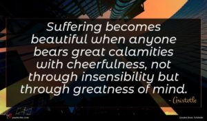 Aristotle quote : Suffering becomes beautiful when ...