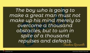 Theodore Roosevelt quote : The boy who is ...