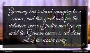 Theodore Roosevelt quote : Germany has reduced savagery ...